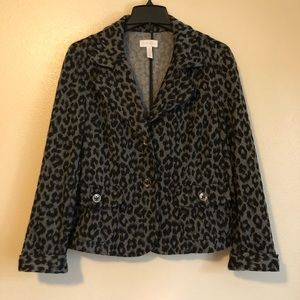 Charter Club Grey Leopard Print Blazer Jacket Sz L